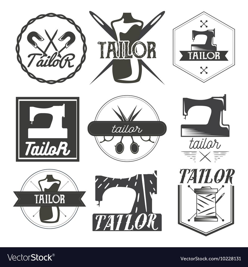 Set of vintage sewing logo design elements