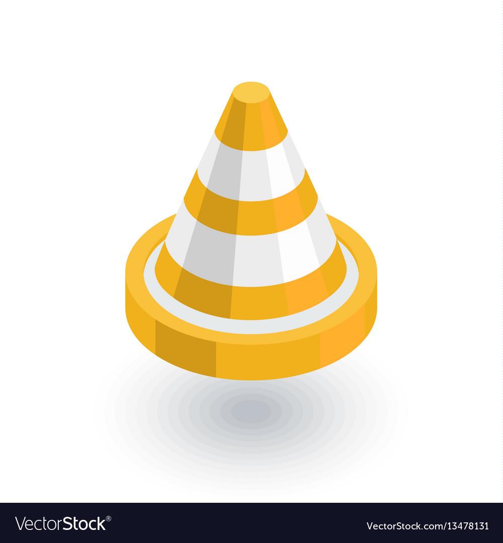 Traffic cone isometric flat icon 3d