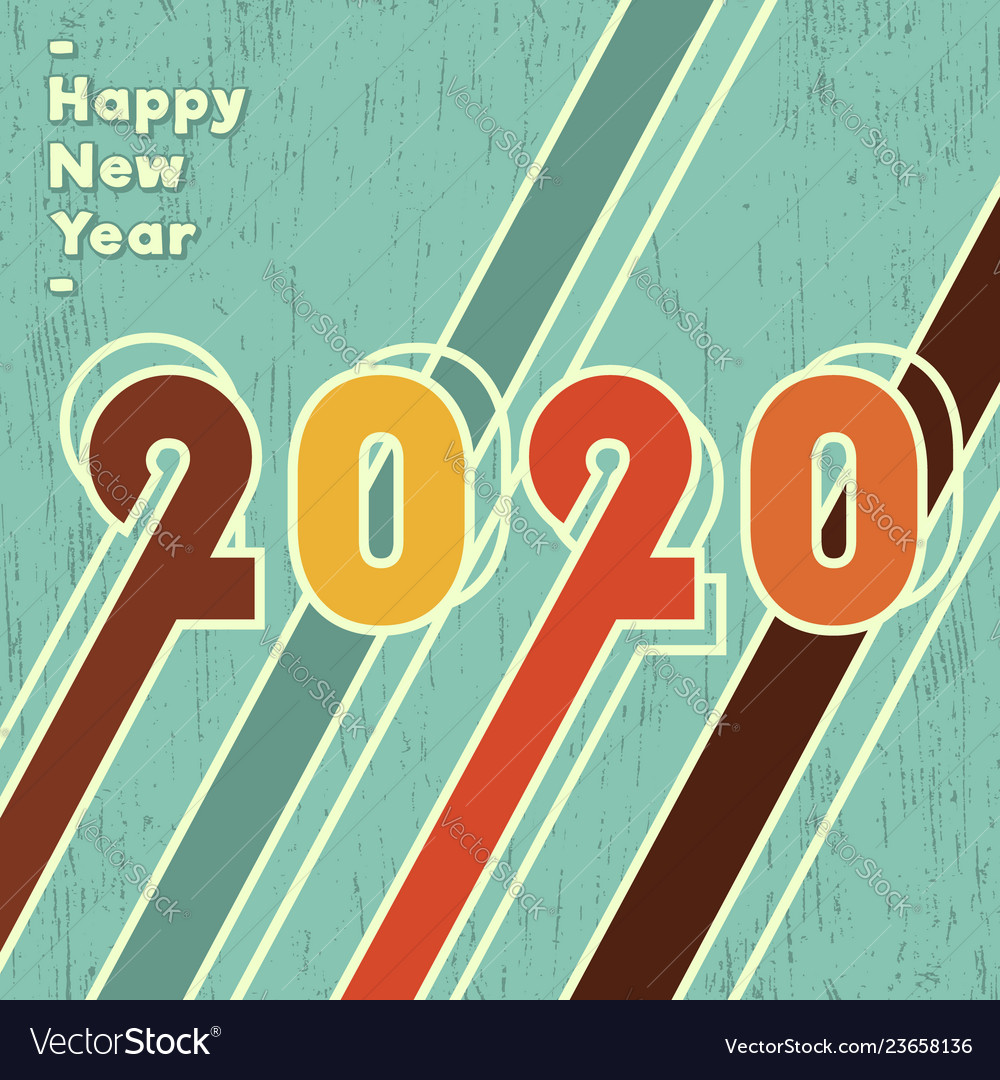 2020 happy new year background vintage design