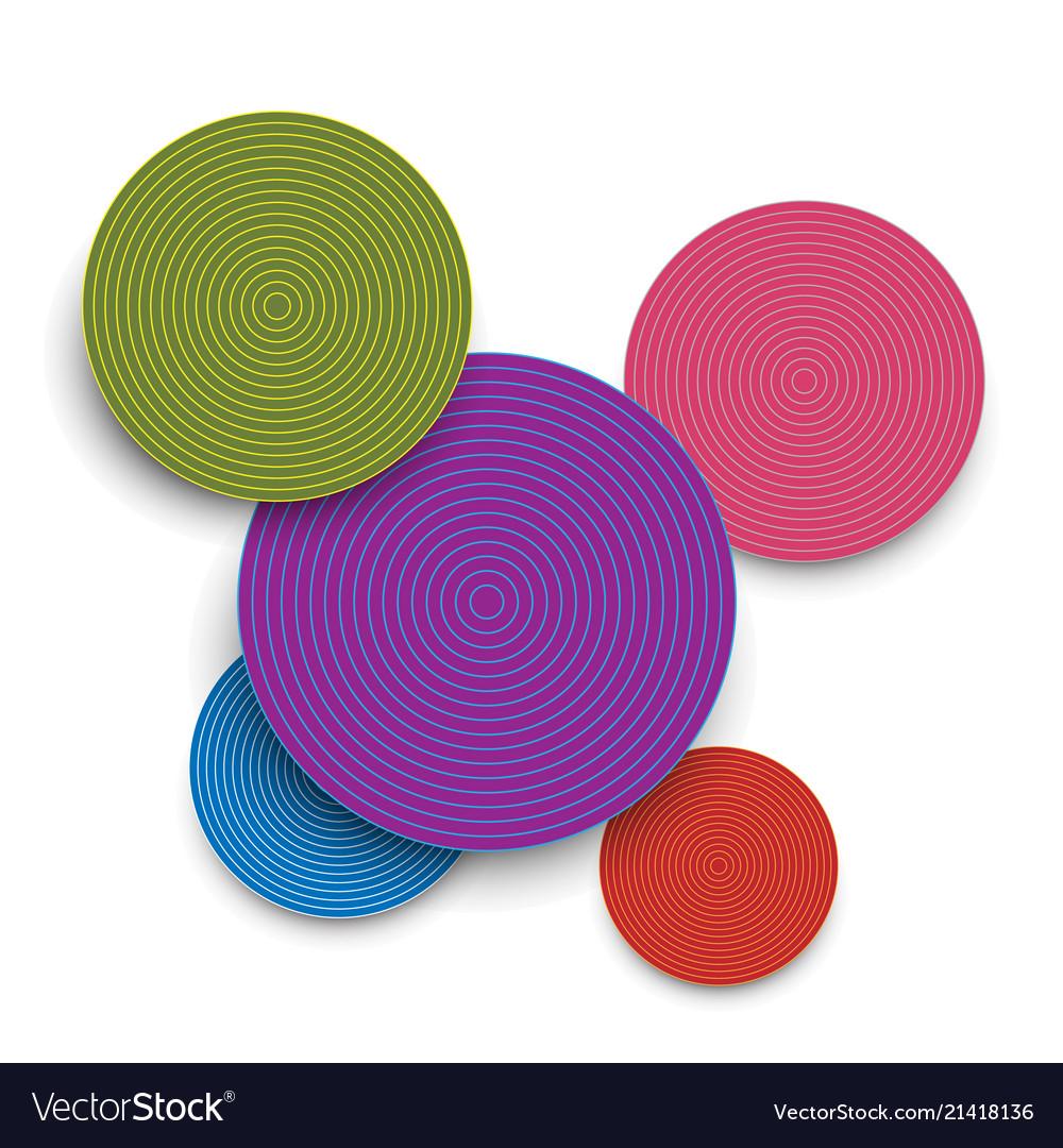 Abstract colored paper circles and shadows
