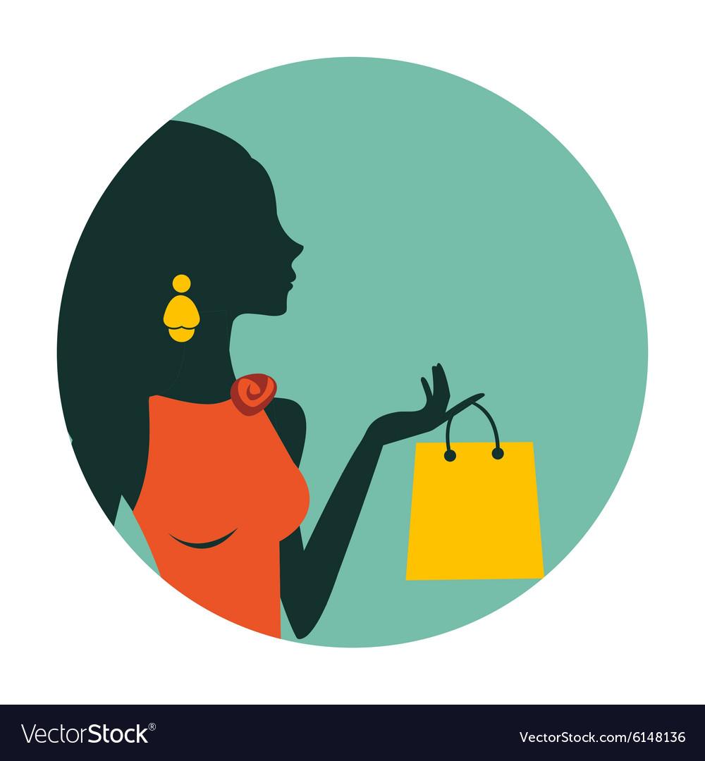 An of beautiful woman shopping vector image