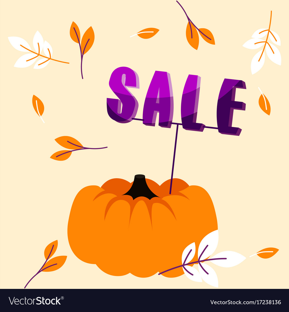 Autumn holiday sale banner with big pumpkin and
