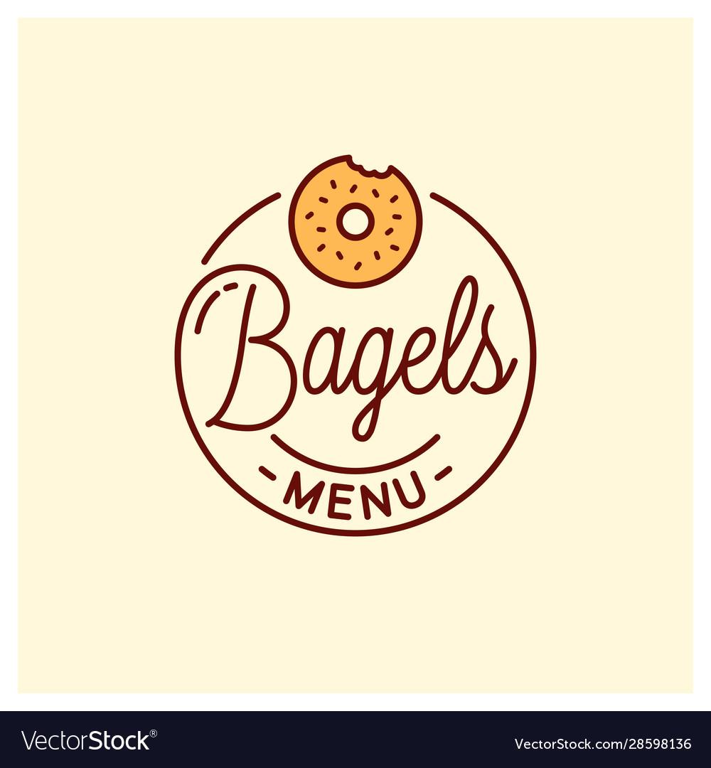 Bagel menu logo round linear bagel bakery