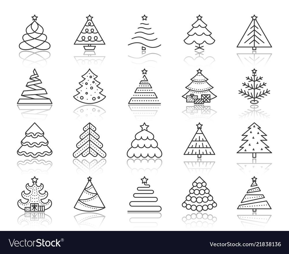 Christmas tree simple black line icons set