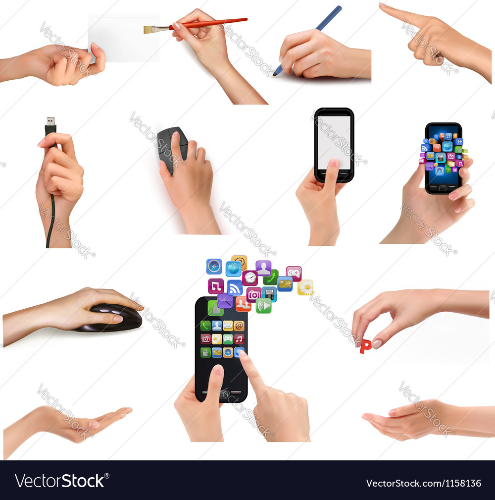 Collection of hands holding different business