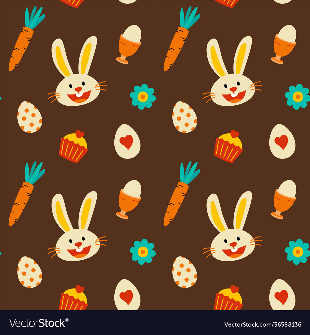 Easter decorative elements pattern seamless brown