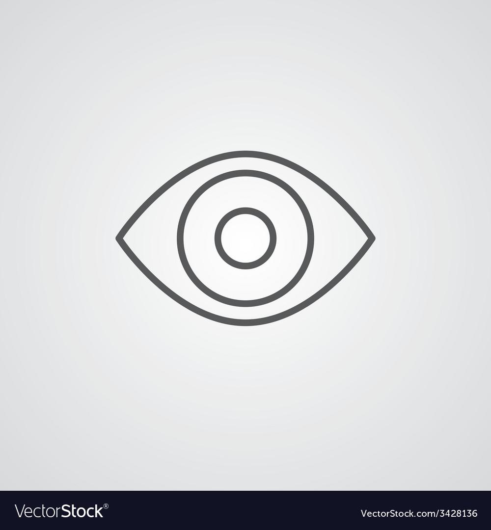 Eye outline symbol dark on white background logo vector image