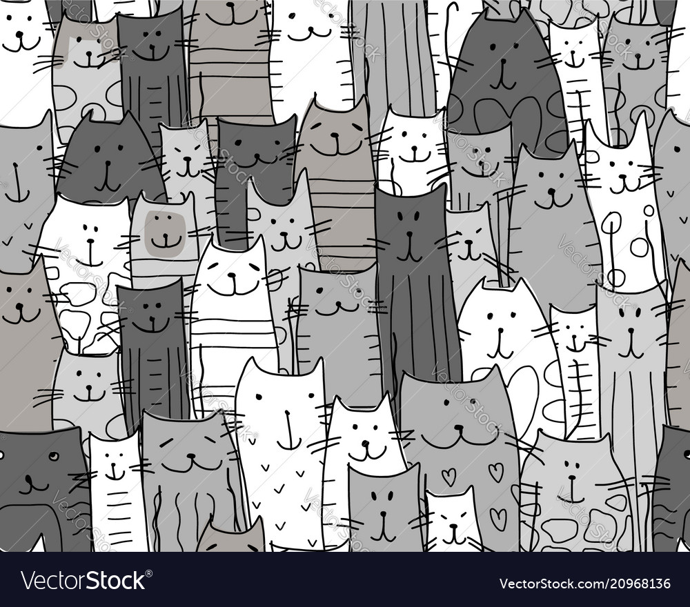 Funny cats family seamless pattern for your
