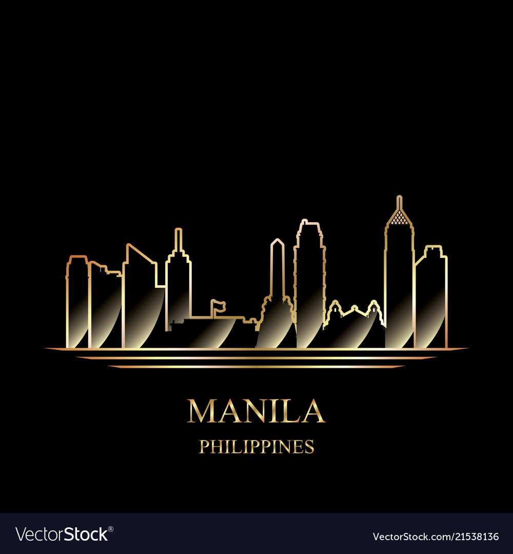 Gold silhouette of manila on black background