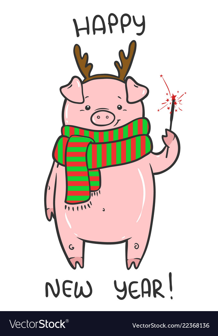 happy new year cute with funny piglet royalty free vector