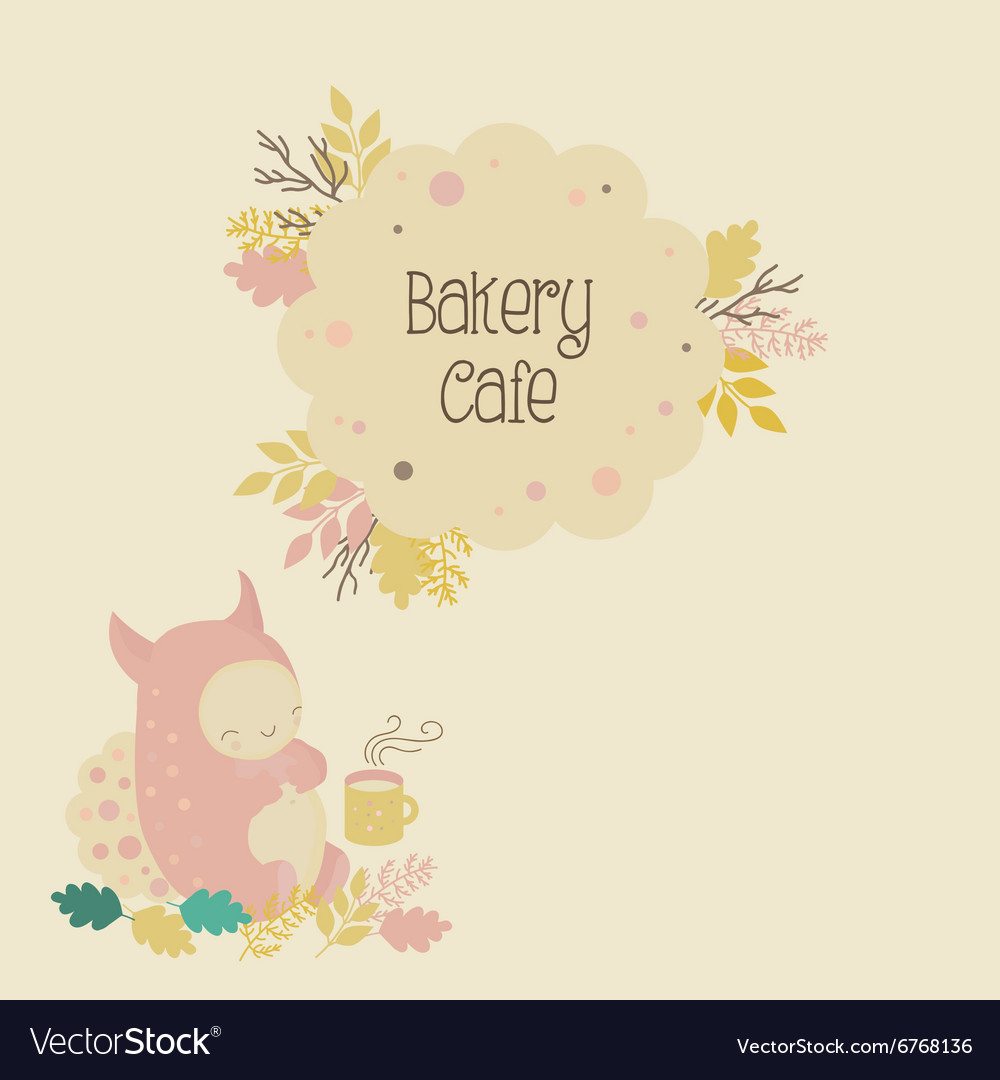 Kids Bakery Cafe Logo And Cute Monster Royalty Free Vector