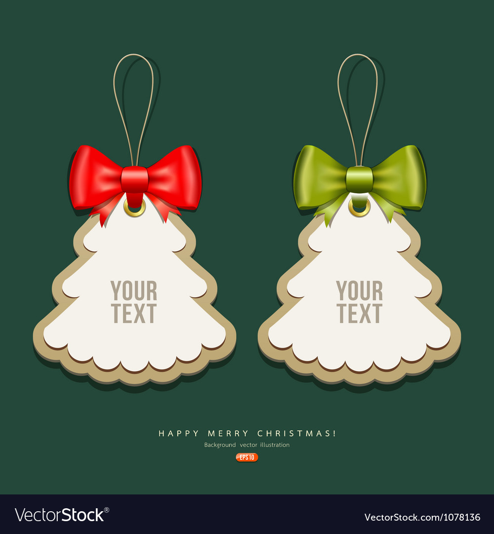 Label paper and ribbons Merry Christmas design