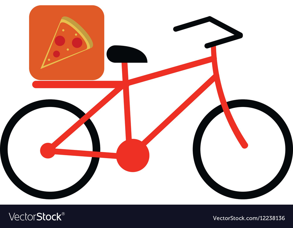 Pizza food delivery bicycle vector image