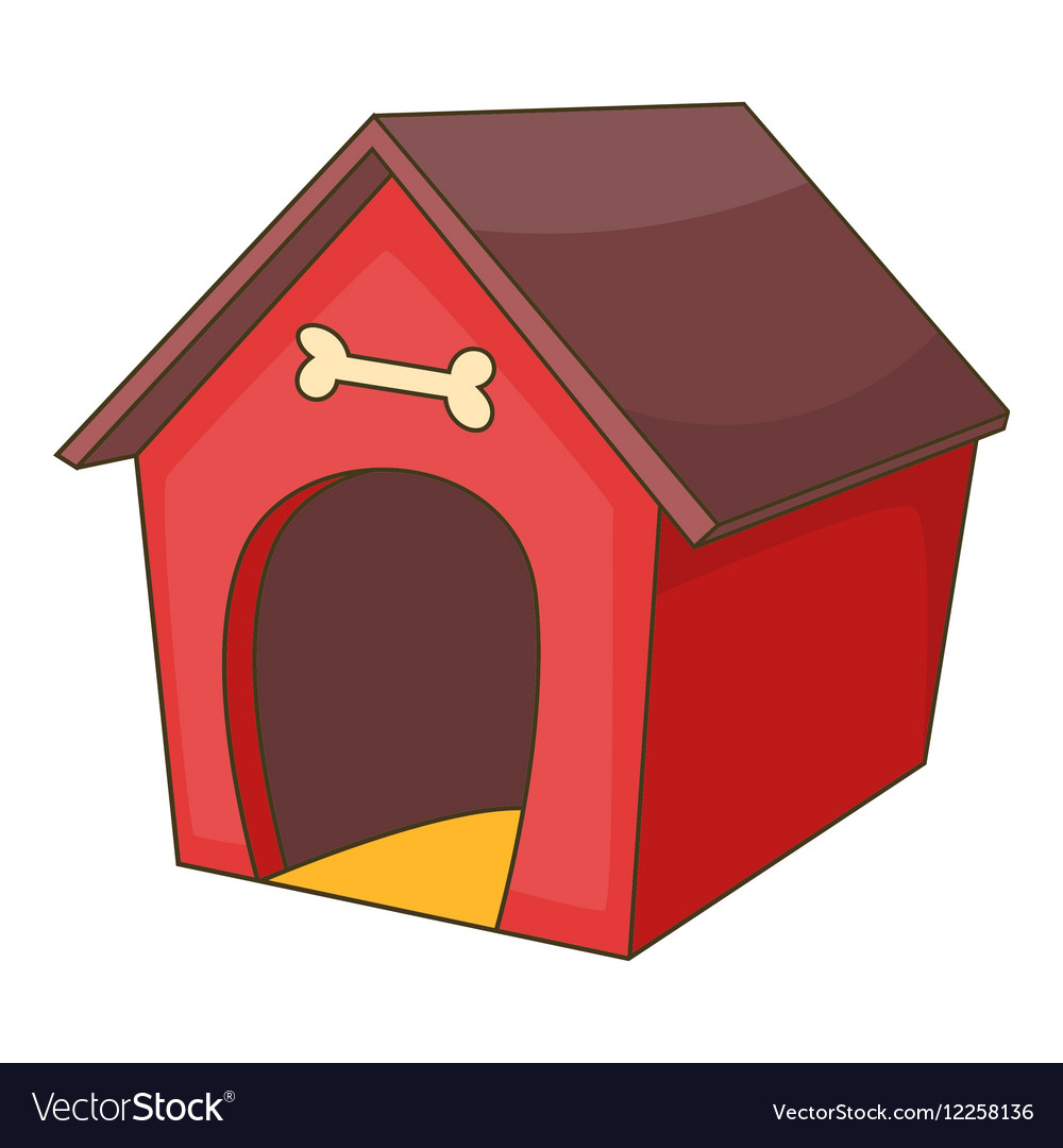 Red dog house icon cartoon style