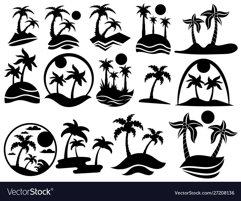Set islands with palm trees collection of
