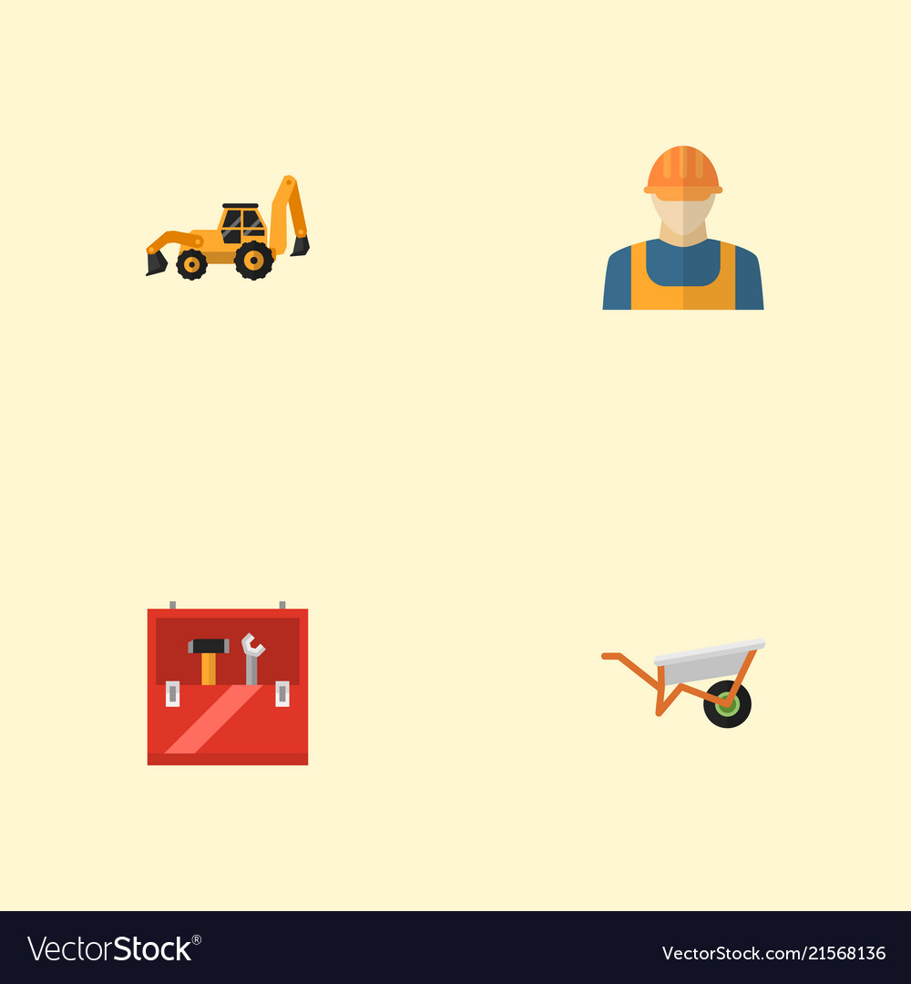 Set of industry icons flat style symbols with