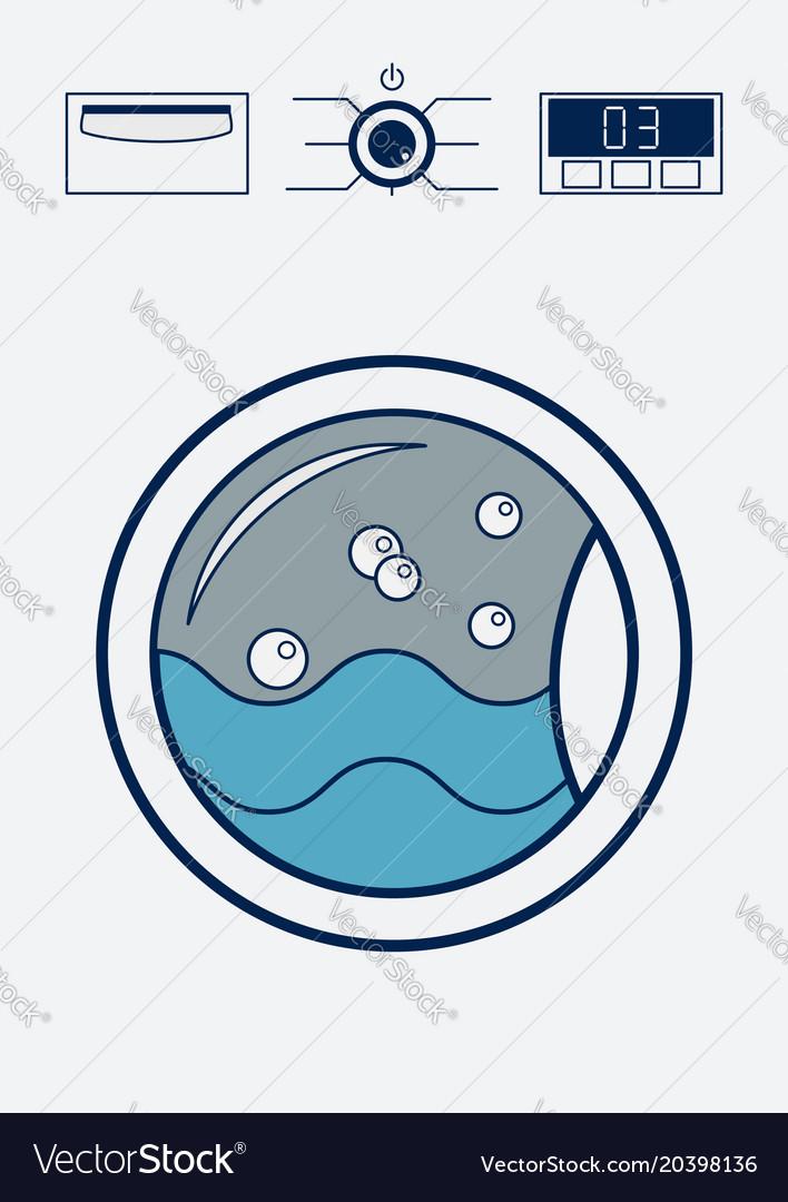 Washing machine icon laundry room concept flat