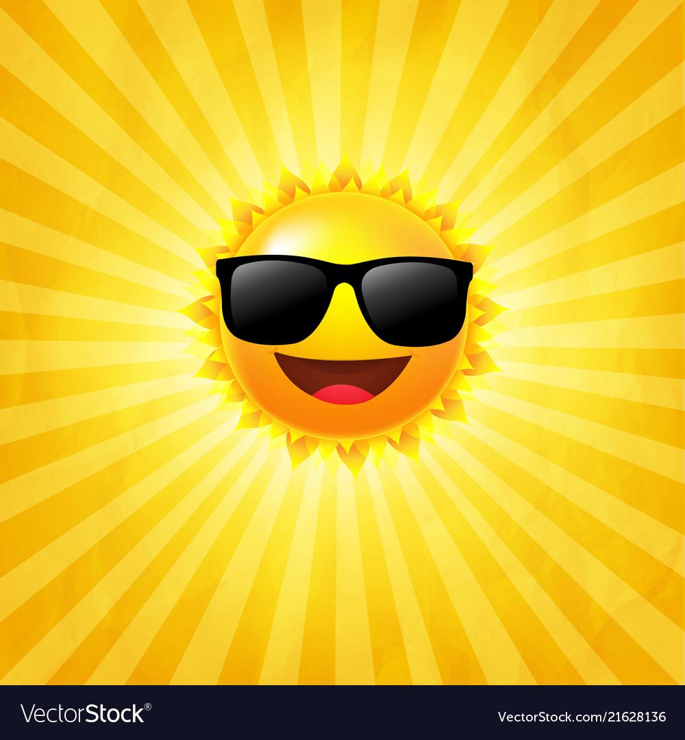 Yellow sunburst background with sun