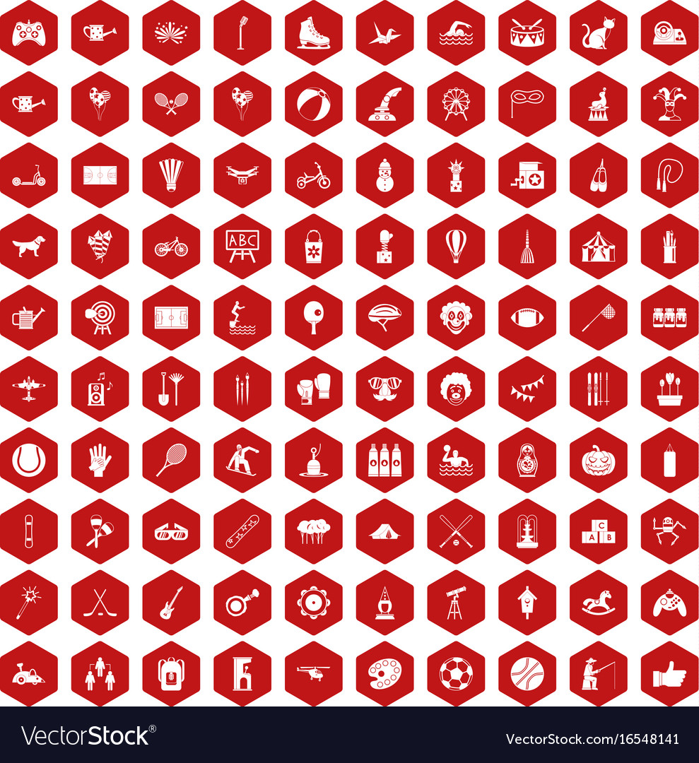 100 kids activity icons hexagon red
