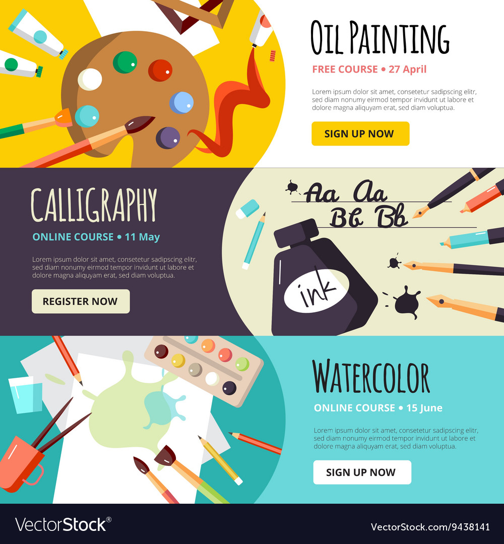 Art And Craft Lessons Banners Royalty Free Vector Image