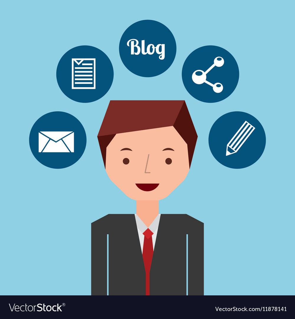 Businessman standing with social network icon vector image