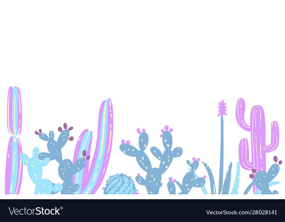 Cacti flower background hand drawn