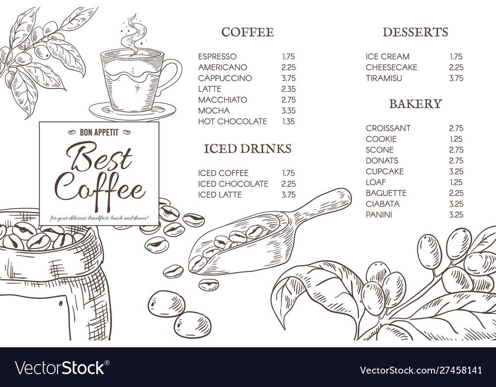 Coffee menu quotes hand drawn coffee elements