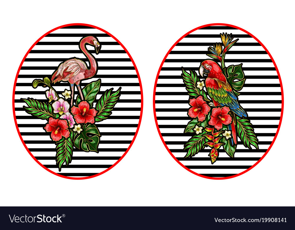 Flamingo parrot embroidery patches with bouquet vector image