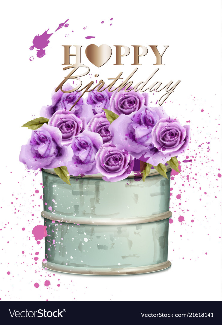 Happy Birthday Card With Watercolor Violet Roses Vector Image