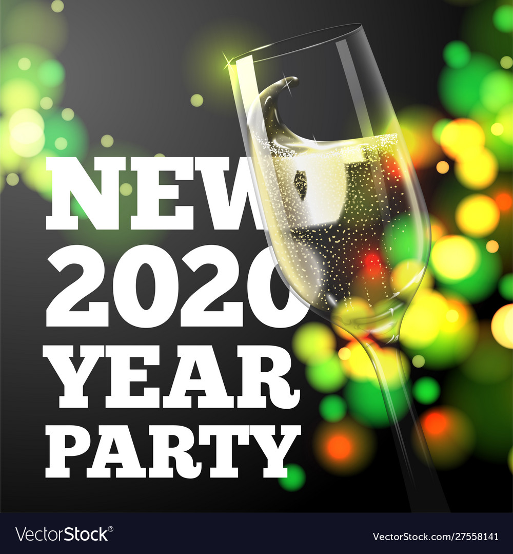 New year banner transparent champagne glass