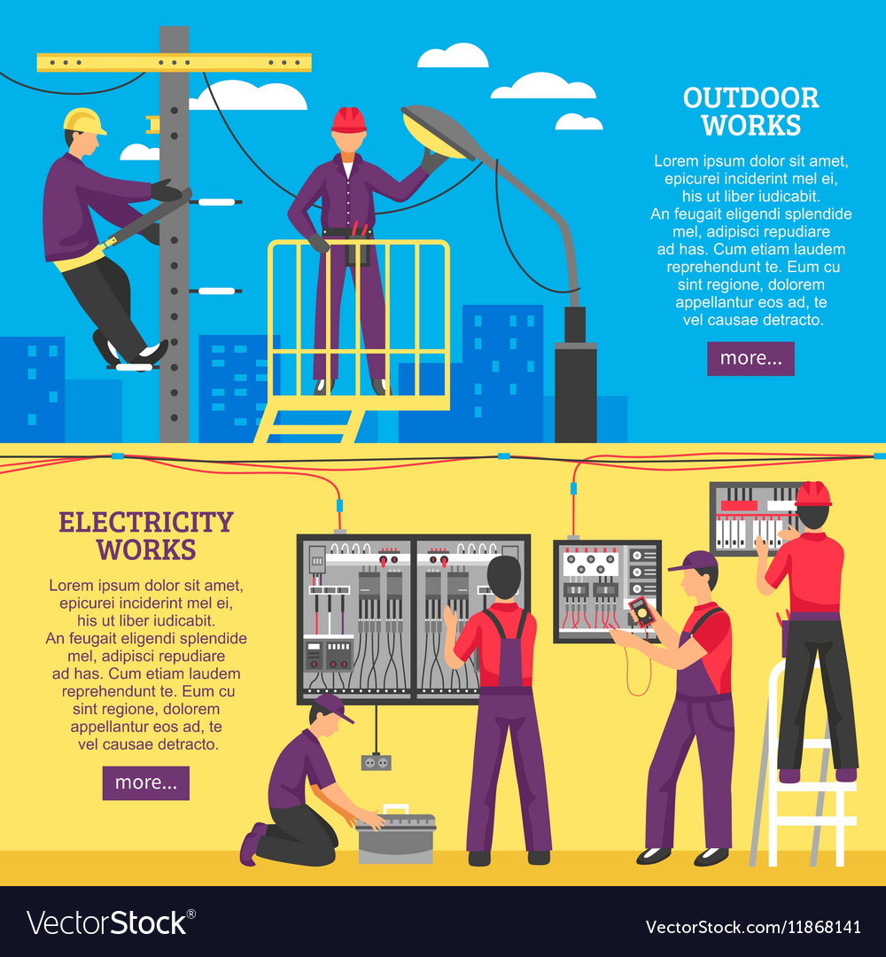 How Electricity Works >> People Doing Electrical Works Horizontal Banners