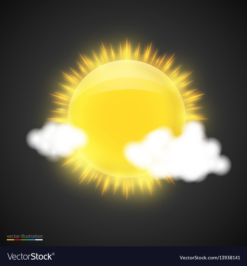 Realistic sun with clouds on dark background