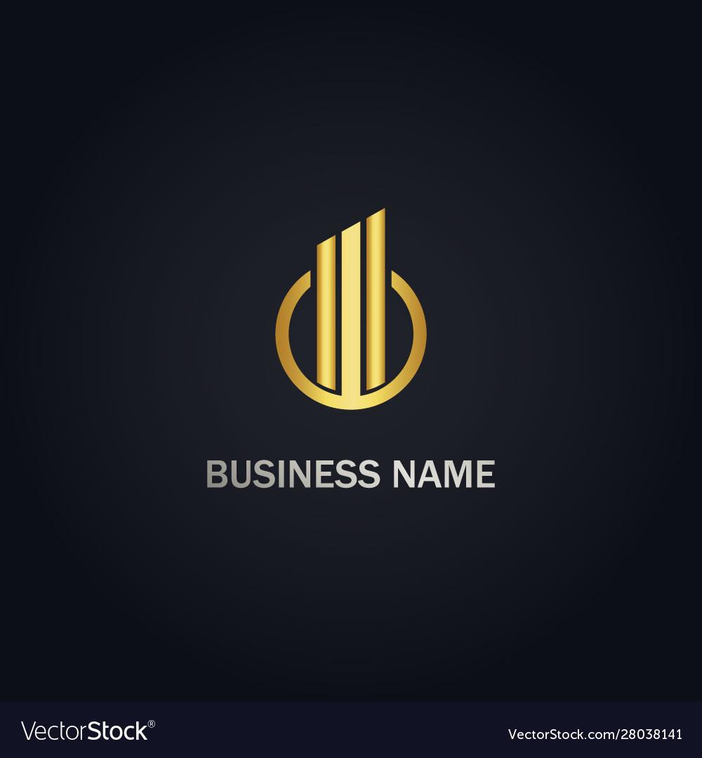Round business line graph gold logo