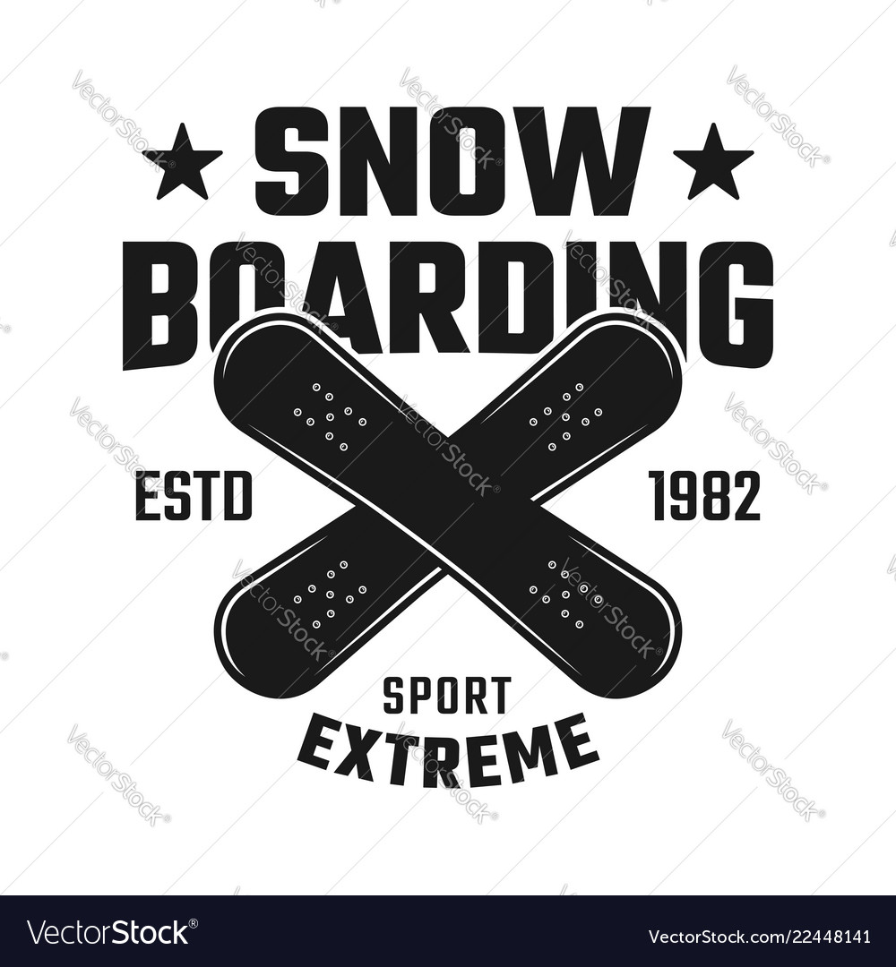 Snowboarding emblem with two crossed boards