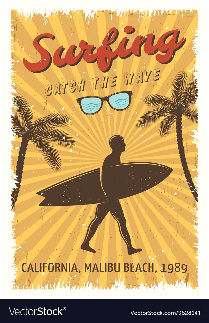 Surfing retro poster