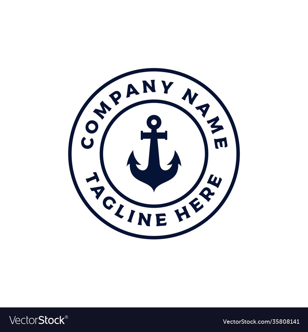 Vintage retro anchor emblem logo design