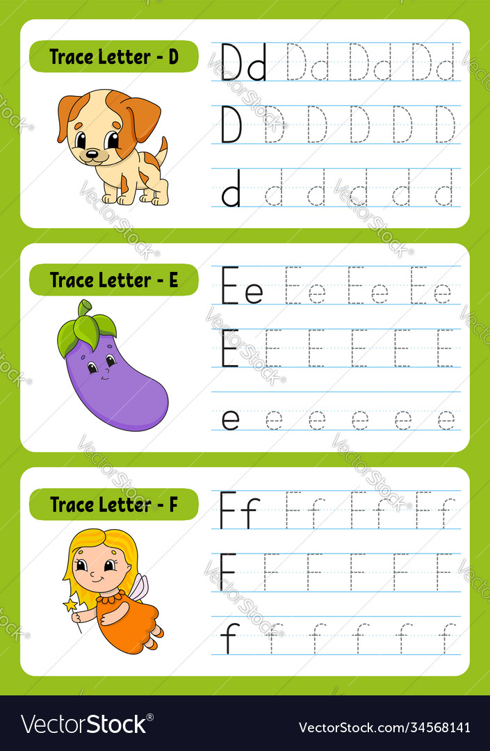 Writing Letters Tracing Page Practice Sheet Vector Image
