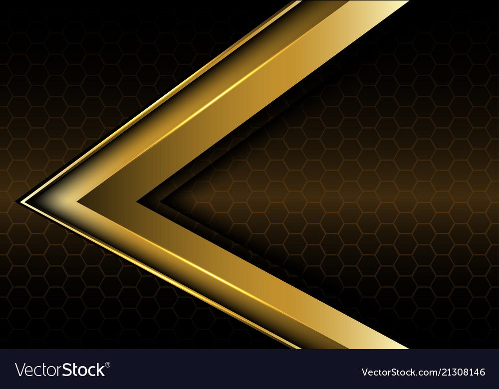 Abstract gold arrow on hexagon mesh