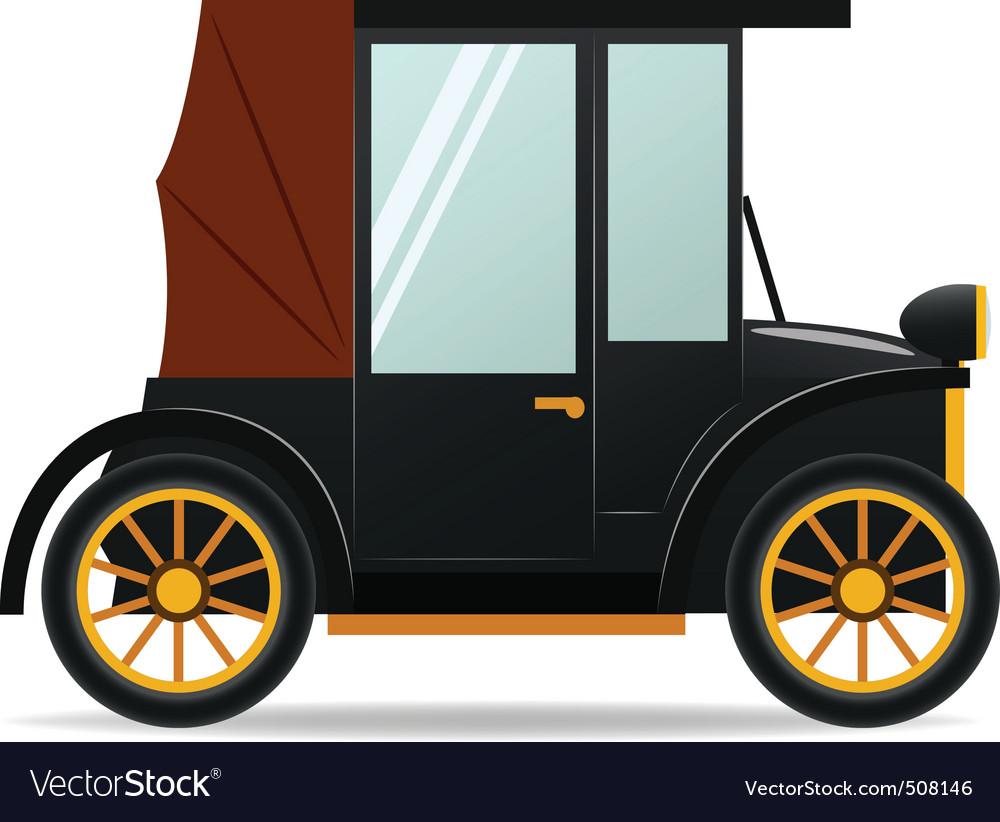 Cartoon Old Retro Car In Black Color Royalty Free Vector