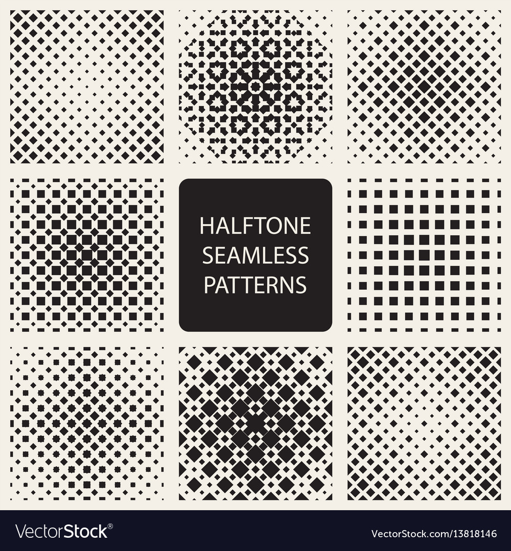 Collection of square halftone seamless geometric