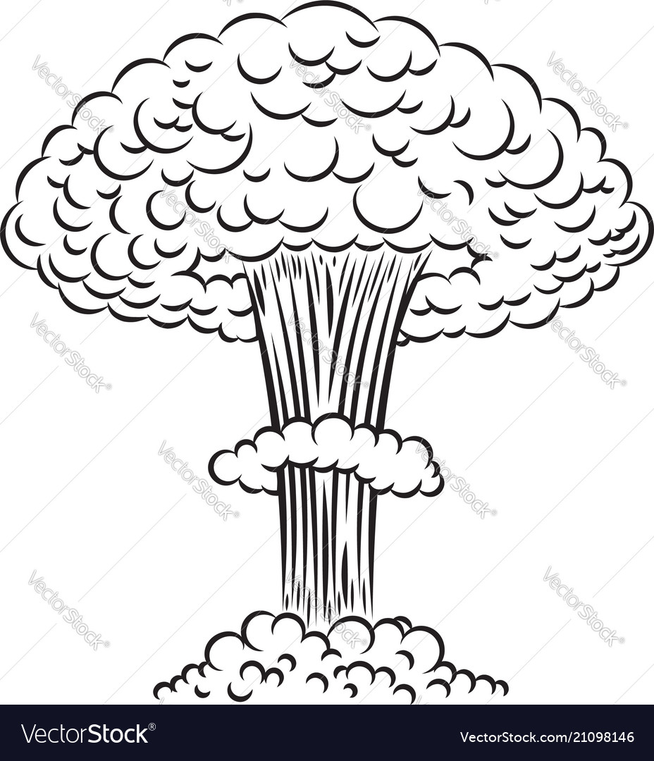 Comic style nuclear explosion on white background