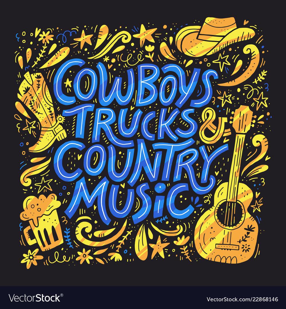 Country music festival retro poster