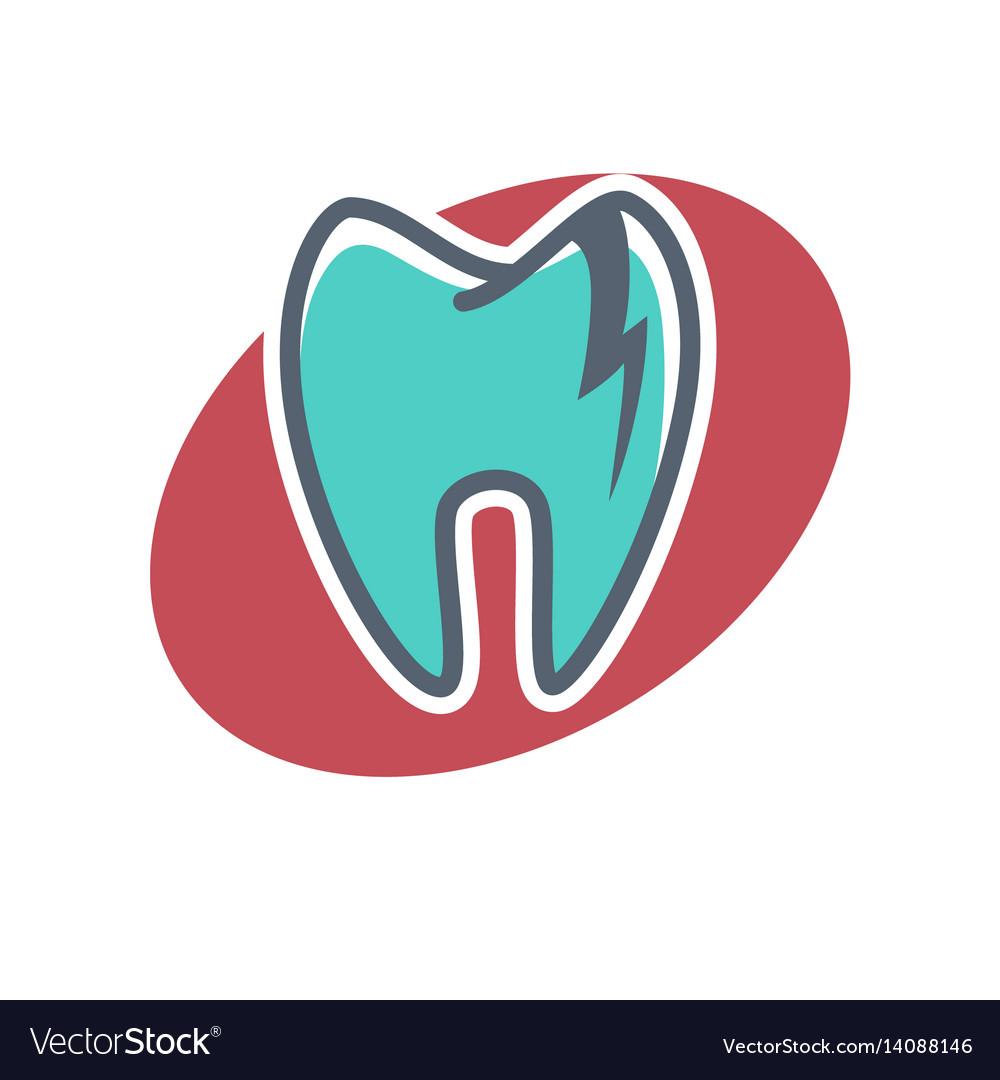 Dental logo on oval shape background dentistry
