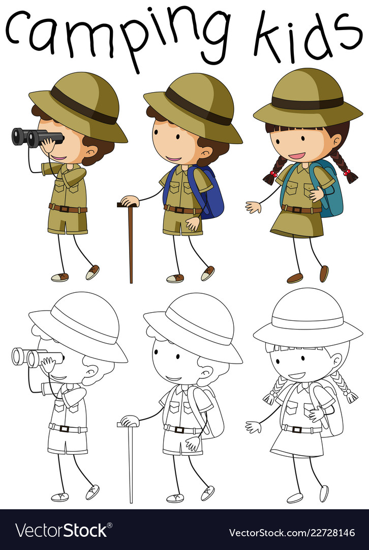 Doodle camping kids character