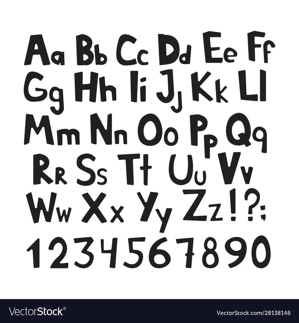 Doodle simple primitive kids alphabet hand drawn