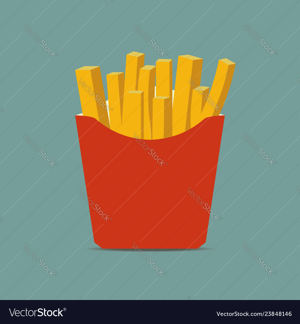 French fries in paper box