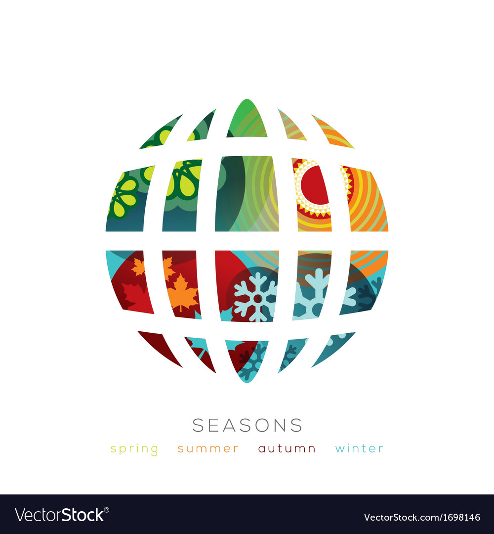 Globe with four seasons concept