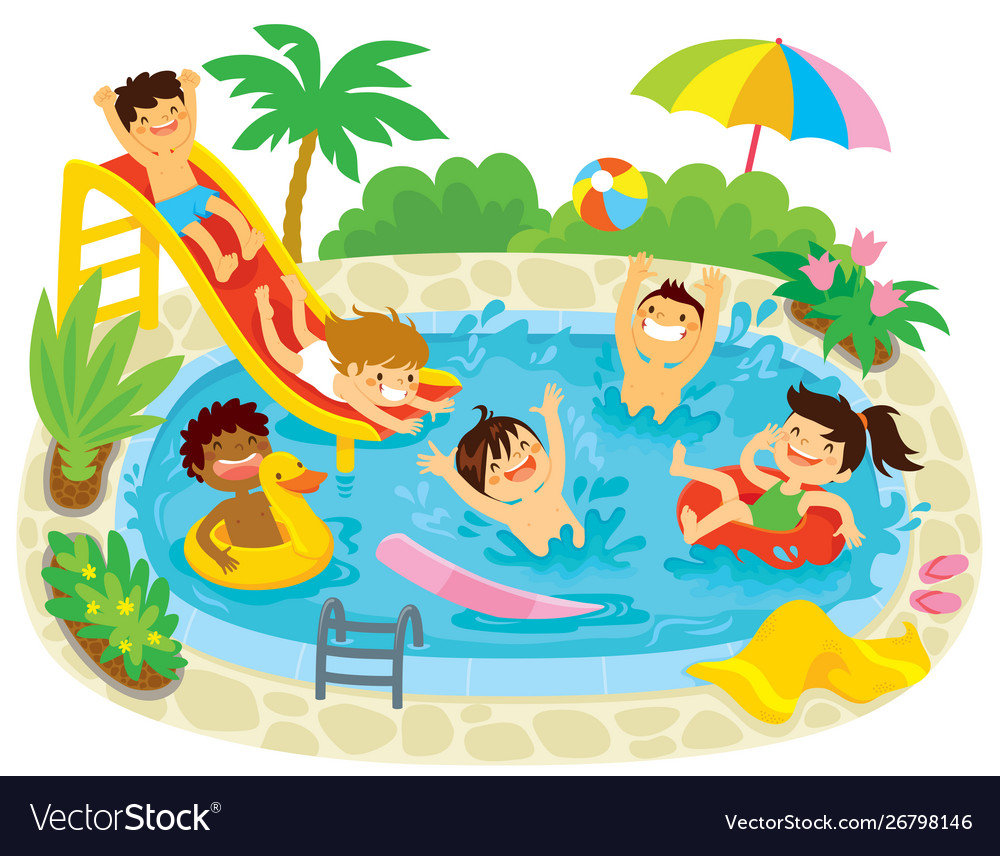 Kids playing in a swimming pool