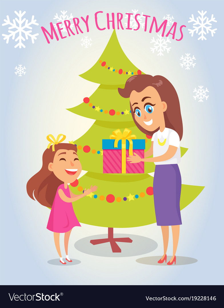 merry christmas poster with mother and daughter vector image - Merry Christmas Daughter