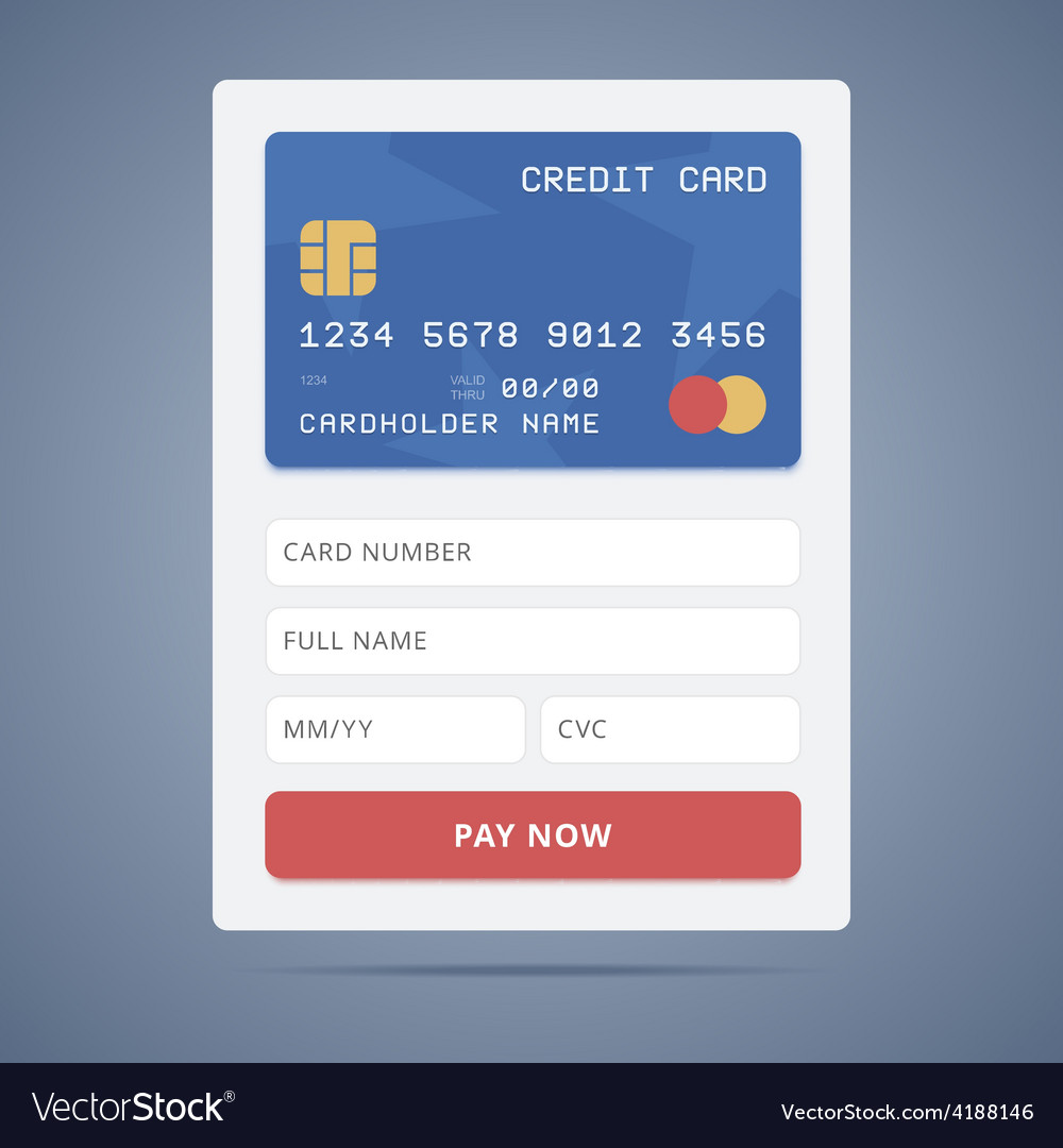 payment application form with credit card vector image